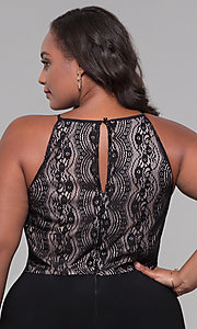 Image of holiday party plus-size lace-bodice black jumpsuit. Style: AS-A9809U557X Detail Image 2