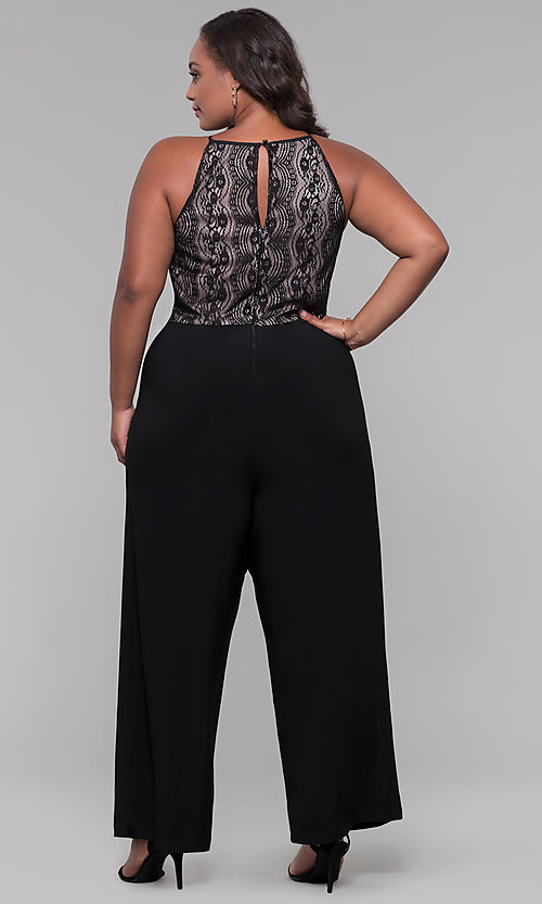 Image of holiday party plus-size lace-bodice black jumpsuit. Style: AS-A9809U557X Back Image
