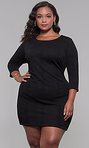 Image of short plus-size 3/4-sleeve holiday party dress. Style: AS-A9499U9A45X Front Image