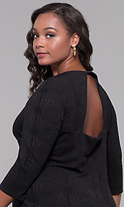 Image of short plus-size 3/4-sleeve holiday party dress. Style: AS-A9499U9A45X Detail Image 2