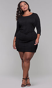 Image of short plus-size 3/4-sleeve holiday party dress. Style: AS-A9499U9A45X Detail Image 3