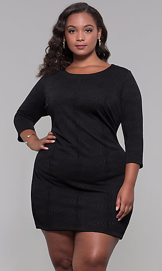 Short Plus-Size 3/4-Sleeve Holiday Party Dress