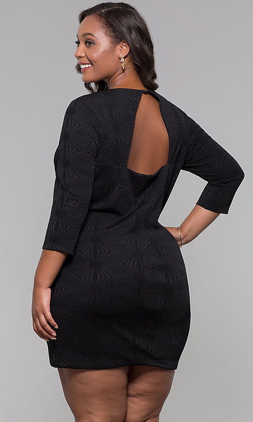 Image of short plus-size 3/4-sleeve holiday party dress. Style: AS-A9499U9A45X Back Image