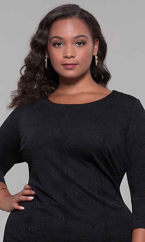 Image of short plus-size 3/4-sleeve holiday party dress. Style: AS-A9499U9A45X Detail Image 1