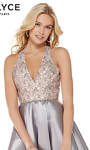 Image of short fit-and-flare open-back homecoming dress. Style: AL-3797 Detail Image 1