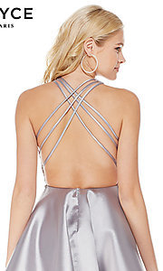 Image of short fit-and-flare open-back homecoming dress. Style: AL-3797 Detail Image 2