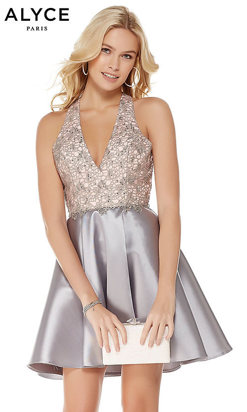 Image of short fit-and-flare open-back homecoming dress. Style: AL-3797 Front Image