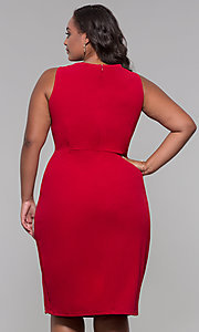 Image of knee-length plus-size wedding-guest party dress. Style: JU-MA-291345 Back Image