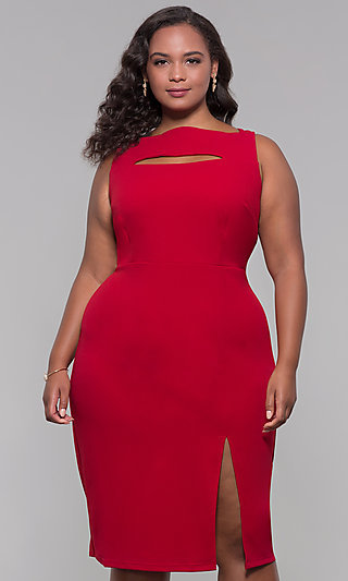 Knee-Length Plus-Size Wedding Guest Party Dress