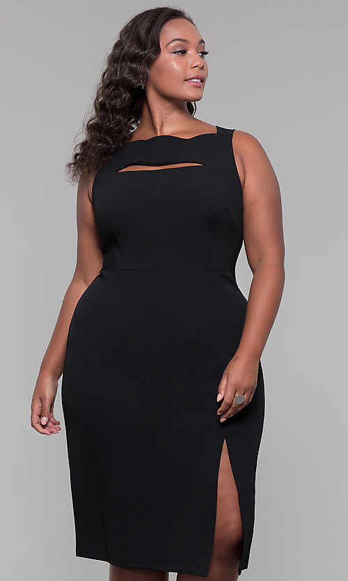 Image of knee-length plus-size wedding-guest party dress. Style: JU-MA-291345 Detail Image 3