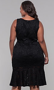 Image of knee-length black lace plus-size wedding-guest dress. Style: JU-MA-291815 Back Image