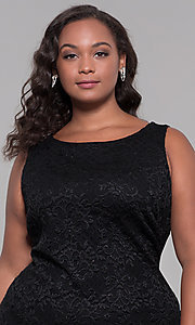 Image of knee-length black lace plus-size wedding-guest dress. Style: JU-MA-291815 Detail Image 1