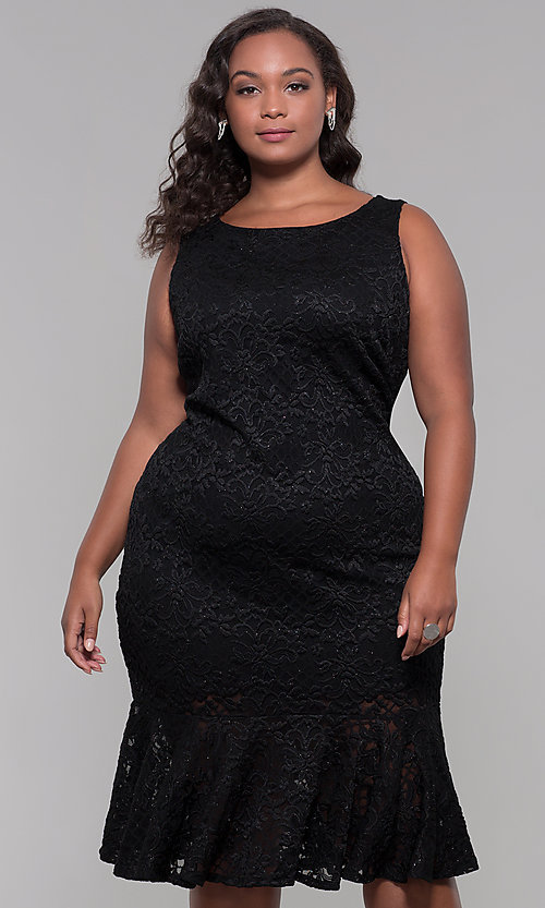 Image of knee-length black lace plus-size wedding-guest dress. Style: JU-MA-291815 Front Image