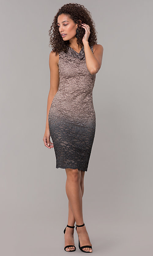 Image of ombre glitter-lace knee-length wedding-guest dress. Style: JU-ON-650268 Detail Image 3