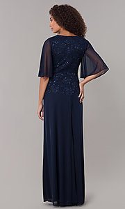 Image of glitter-bodice long MOB dress with flutter sleeves. Style: JU-ON-650272 Back Image