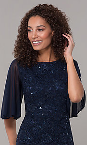 Image of glitter-bodice long MOB dress with flutter sleeves. Style: JU-ON-650272 Detail Image 1