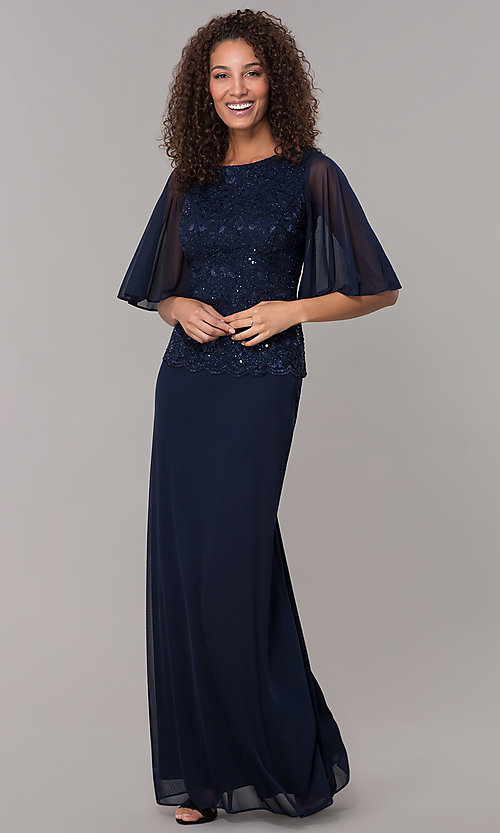 Image of glitter-bodice long MOB dress with flutter sleeves. Style: JU-ON-650272 Front Image