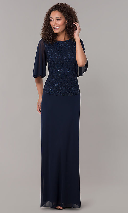 Image of glitter-bodice long MOB dress with flutter sleeves. Style: JU-ON-650272 Detail Image 3