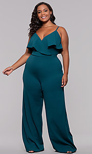 Image of v-neck plus-size wedding-guest jumpsuit. Style: SY-IXB1384AP Front Image