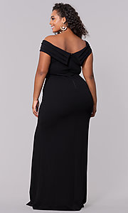 Image of plus-size off-the-shoulder long formal prom dress. Style: SY-IXD5144VP Detail Image 5