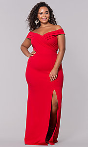 Image of plus-size off-the-shoulder long formal prom dress. Style: SY-IXD5144VP Detail Image 6