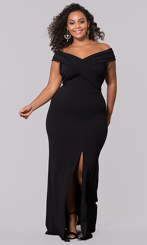 Image of plus-size off-the-shoulder long formal prom dress. Style: SY-IXD5144VP Detail Image 4