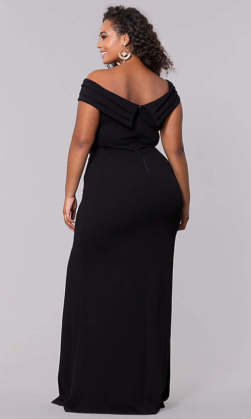 Off-the-Shoulder Plus-Size Long Formal Prom Dress