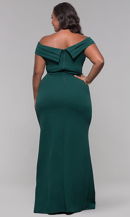Image of plus-size off-the-shoulder long formal prom dress. Style: SY-IXD5144VP Detail Image 3