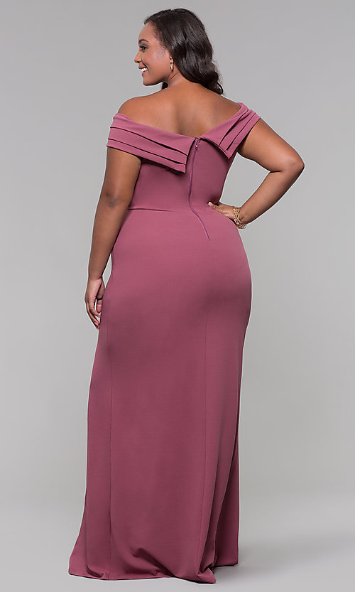 Image of plus-size off-the-shoulder long formal prom dress. Style: SY-IXD5144VP Back Image