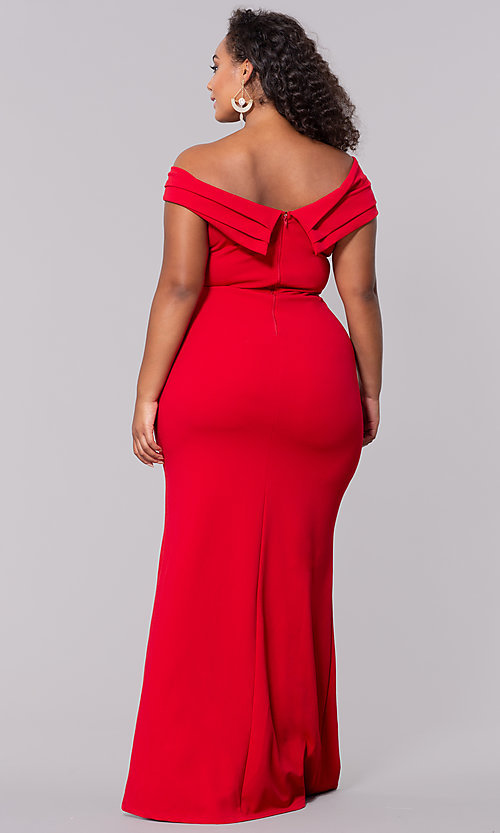 Image of plus-size off-the-shoulder long formal prom dress. Style: SY-IXD5144VP Detail Image 7