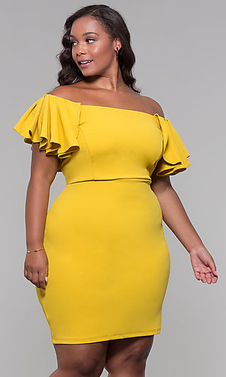 Cape-Sleeve Short Plus-Size Wedding-Guest Dress