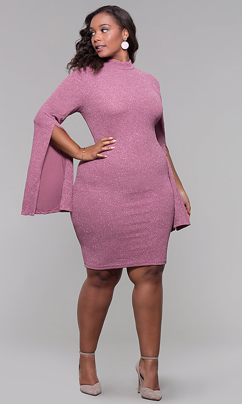 Image of knee-length mauve plus-size wedding guest dress. Style: SY-IXD5969AP Detail Image 3
