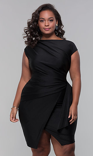 Plus-Size Mock-Wrap Short Wedding-Guest Dress