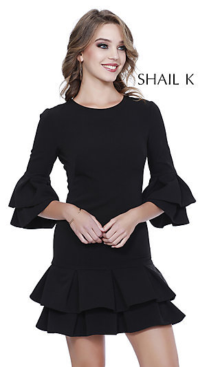 High-Neck Homecoming Dress with a Ruffled Hem