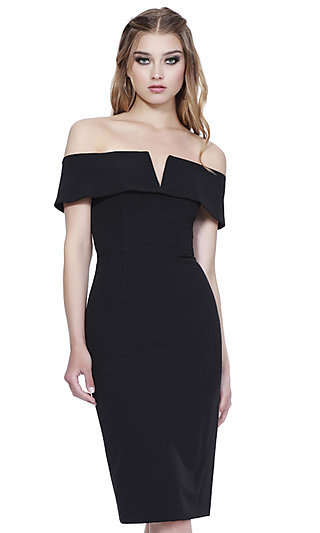 Shail K Homecoming Dress with an Off-the-Shoulder Neck