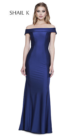 Off-the-Shoulder Fitted Formal Dress by Shail K