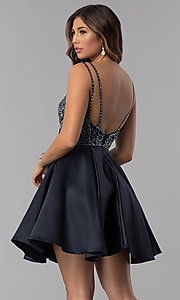 Image of open-back v-neck short homecoming dress with beading. Style: DQ-3039b Back Image