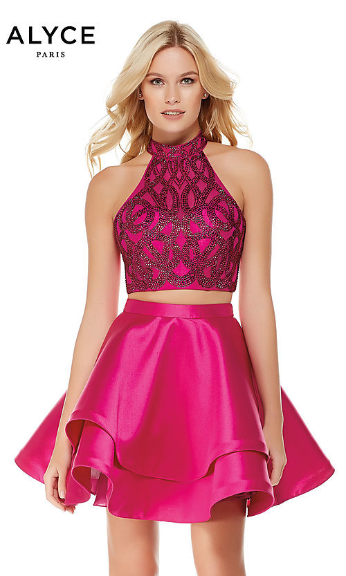 ab03fd094fc Alyce Two-Piece Homecoming Dress with an Open Back