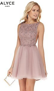 Image of Alyce short homecoming dress with embroidered bodice. Style: AL-3801 Front Image