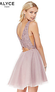 Image of Alyce short homecoming dress with embroidered bodice. Style: AL-3801 Back Image