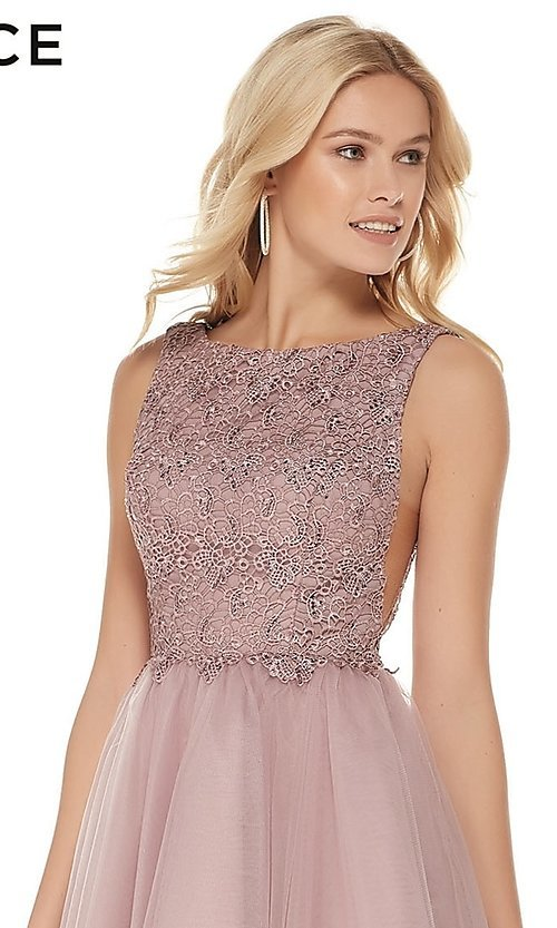 Image of Alyce short homecoming dress with embroidered bodice. Style: AL-3801 Detail Image 1