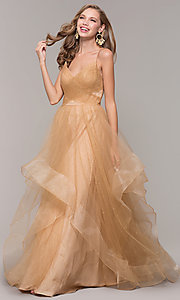 Image of champagne ivory glitter tulle long v-neck prom dress. Style: TI-GL-1811P5849G Detail Image 3