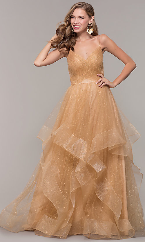 Image of champagne ivory glitter tulle long v-neck prom dress. Style: TI-GL-1811P5849G Front Image