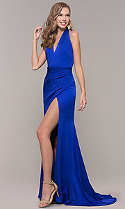 Image of halter-style long Glamour by Terani prom dress. Style: TI-GL-1812P5394G Front Image