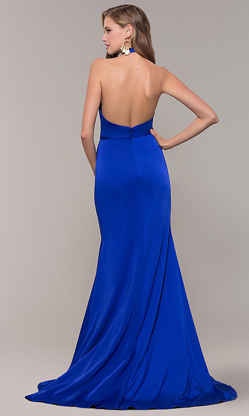 Image of halter-style long Glamour by Terani prom dress. Style: TI-GL-1812P5394G Back Image