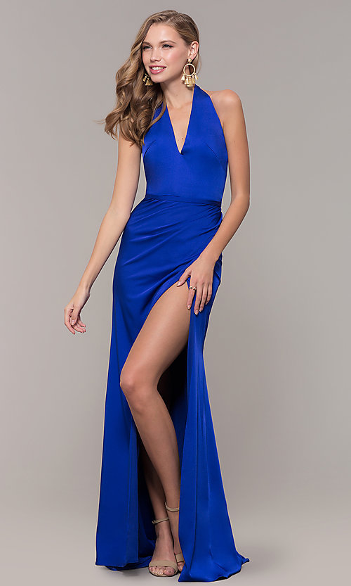 Image of halter-style long Glamour by Terani prom dress. Style: TI-GL-1812P5394G Detail Image 3