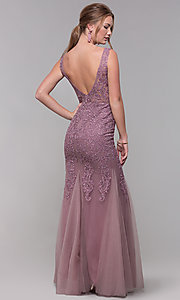 Image of embroidered-mesh long prom dress in mauve purple. Style: SOI-PL-M17309-1 Back Image
