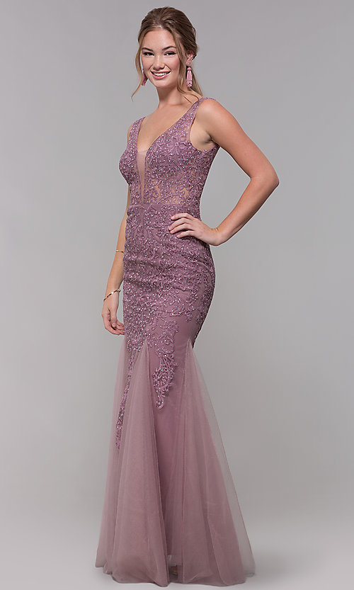 Image of embroidered-mesh long prom dress in mauve purple. Style: SOI-PL-M17309-1 Front Image
