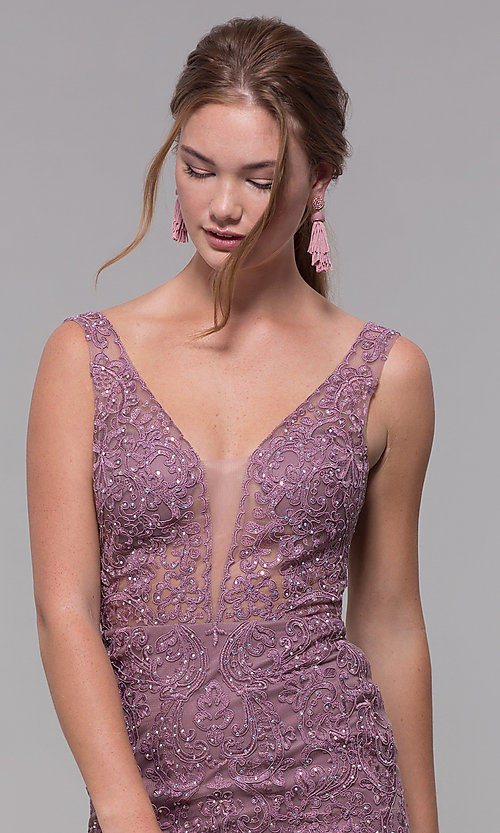 Image of embroidered-mesh long prom dress in mauve purple. Style: SOI-PL-M17309-1 Detail Image 1
