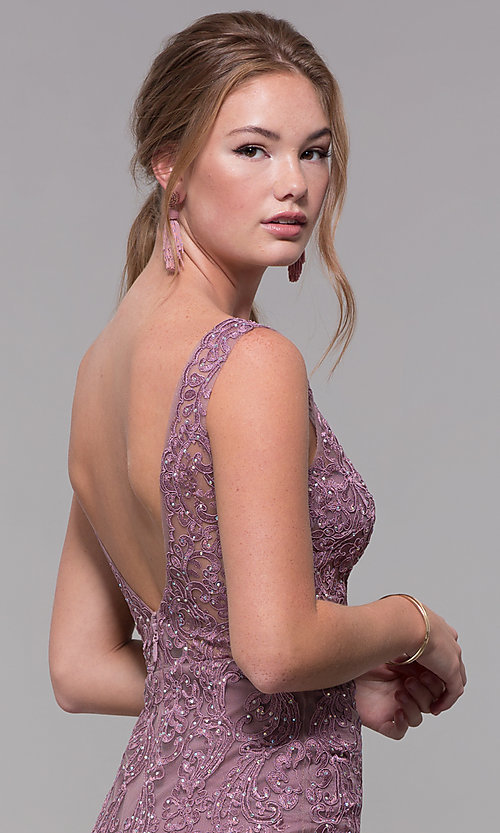 Image of embroidered-mesh long prom dress in mauve purple. Style: SOI-PL-M17309-1 Detail Image 2